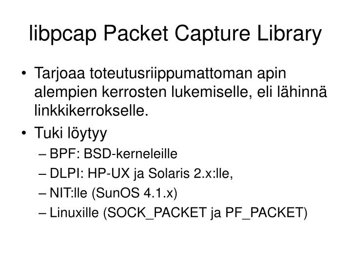 libpcap Packet Capture Library