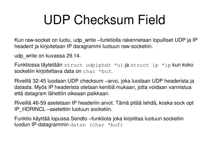UDP Checksum Field