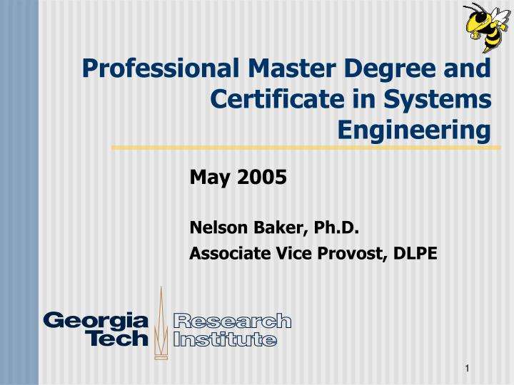 PPT - Professional Master Degree and Certificate in Systems