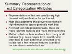 summary representation of text categorization attributes