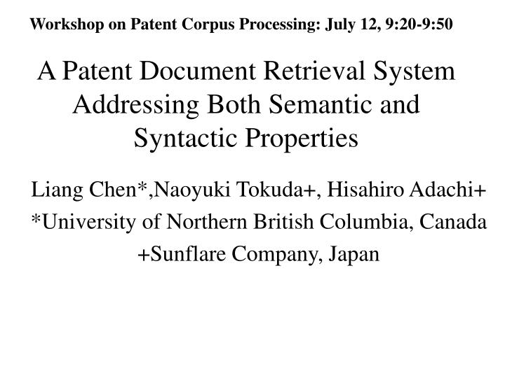 a patent document retrieval system addressing both semantic and syntactic properties n.
