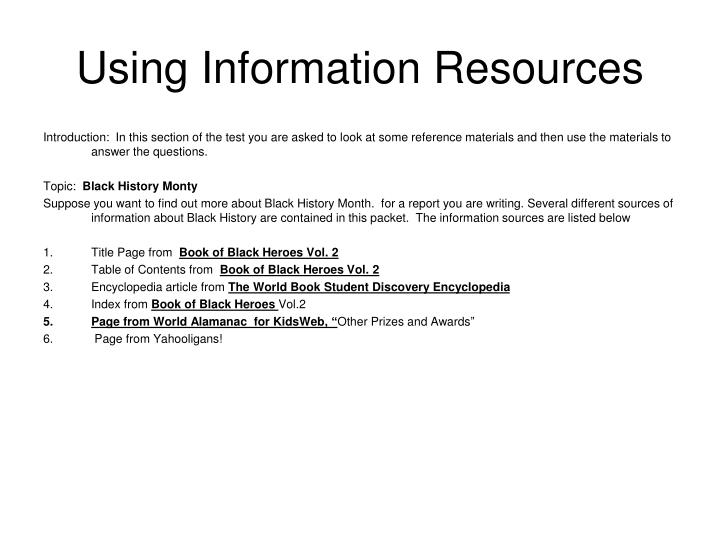 using information resources n.