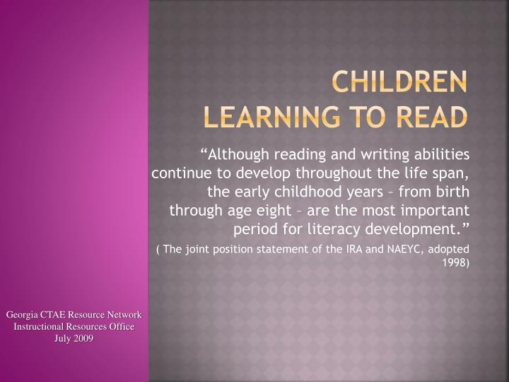 children learning to read n.
