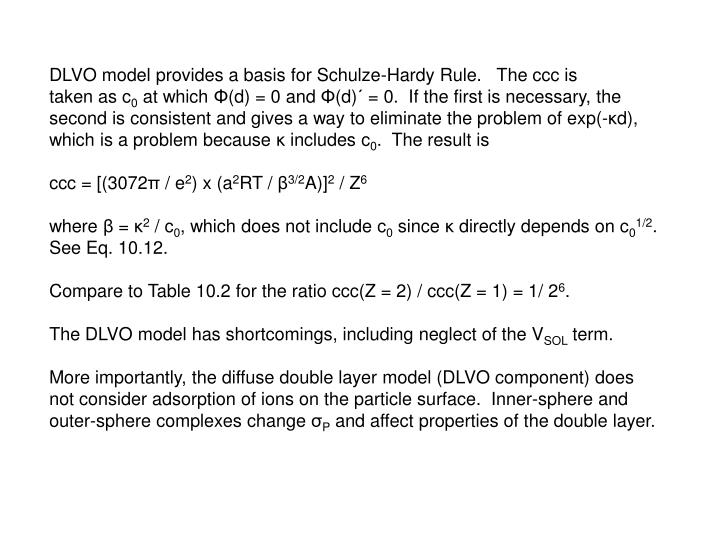 DLVO model provides a basis for Schulze-Hardy Rule.   The ccc is