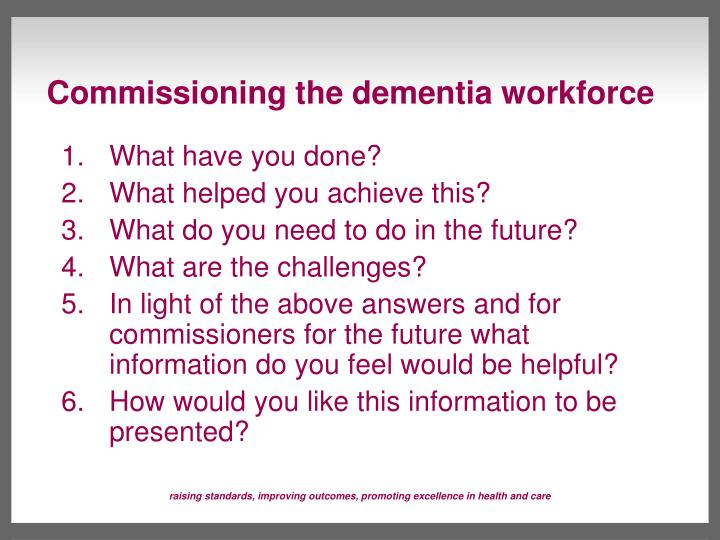 Commissioning the dementia workforce