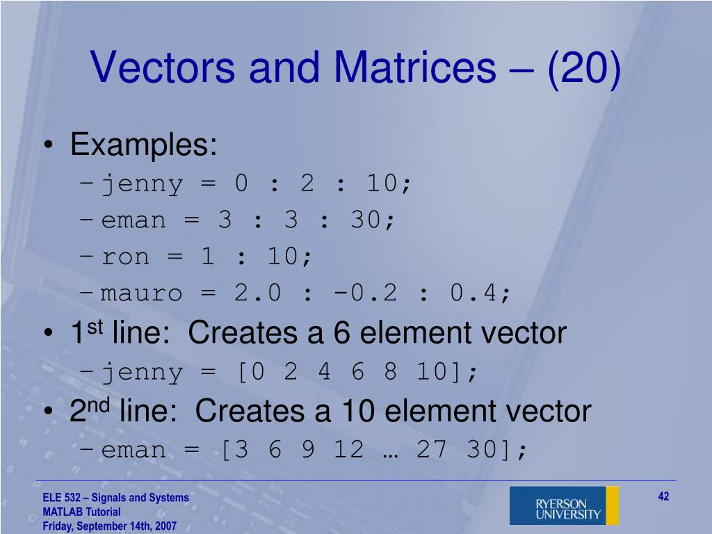 PPT - ELE 532 – Signals and Systems Fall 2007 MATLAB