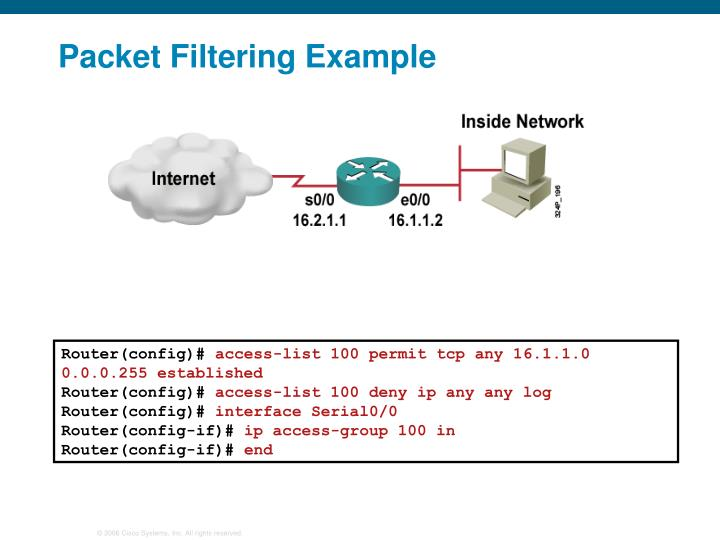 Packet Filtering Example