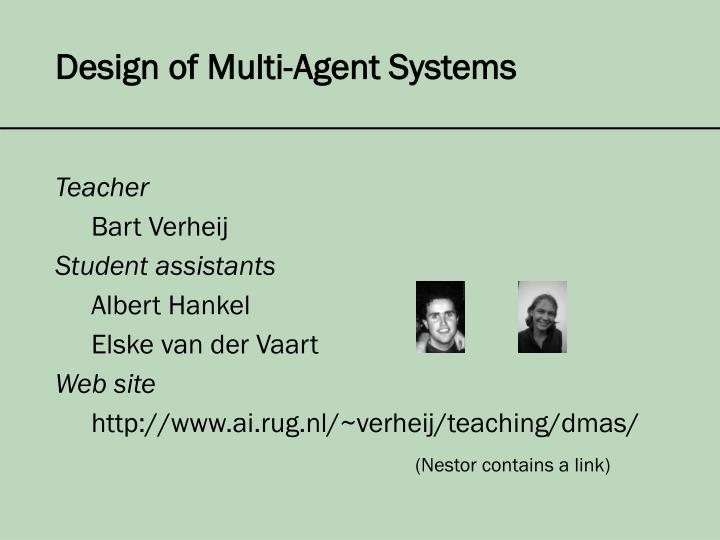 design of multi agent systems n.