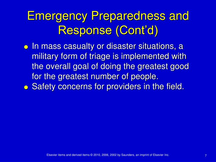 Emergency Preparedness and Response (Cont'd)