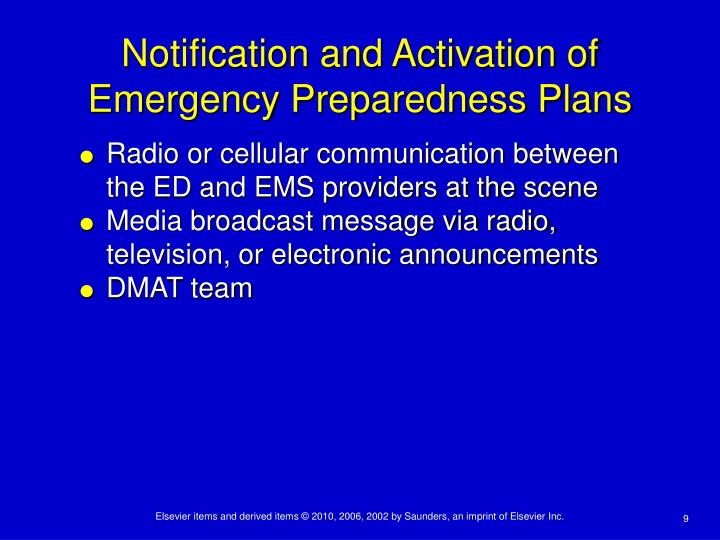 Notification and Activation of Emergency Preparedness Plans