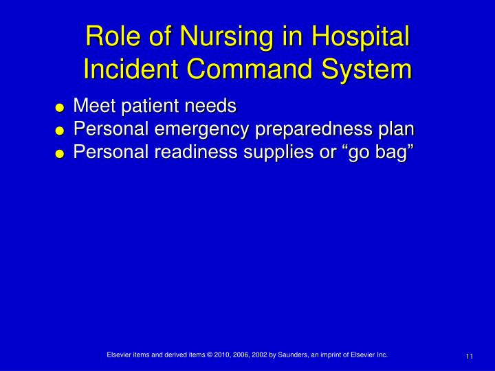 Role of Nursing in Hospital Incident Command System