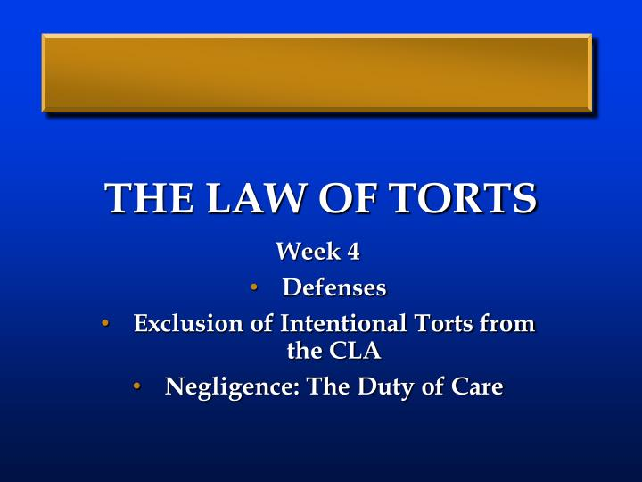 the law of torts The law of torts introduction the word tort is of french origin and is equivalent of the english word wrong, and the roman law term delict it is.