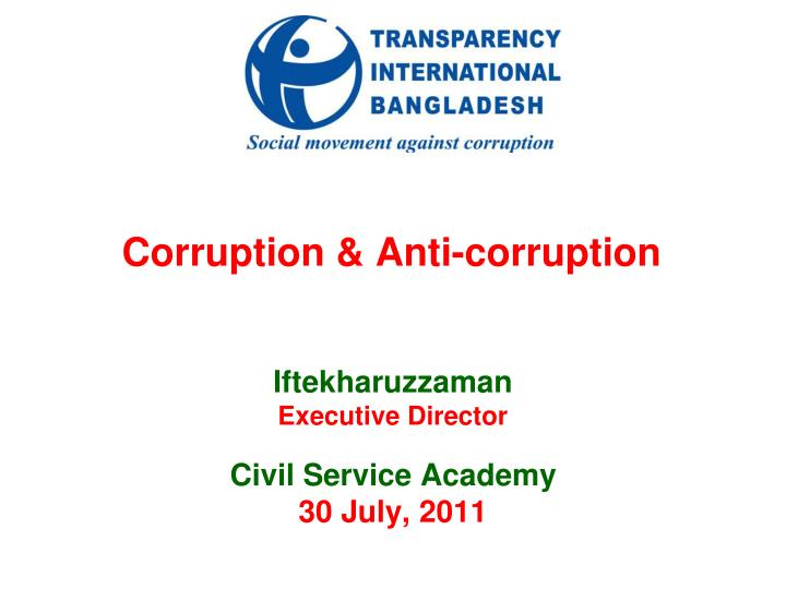 PPT - Corruption & Anti-corruption PowerPoint Presentation