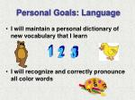 personal goals language