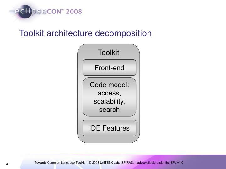Toolkit architecture decomposition