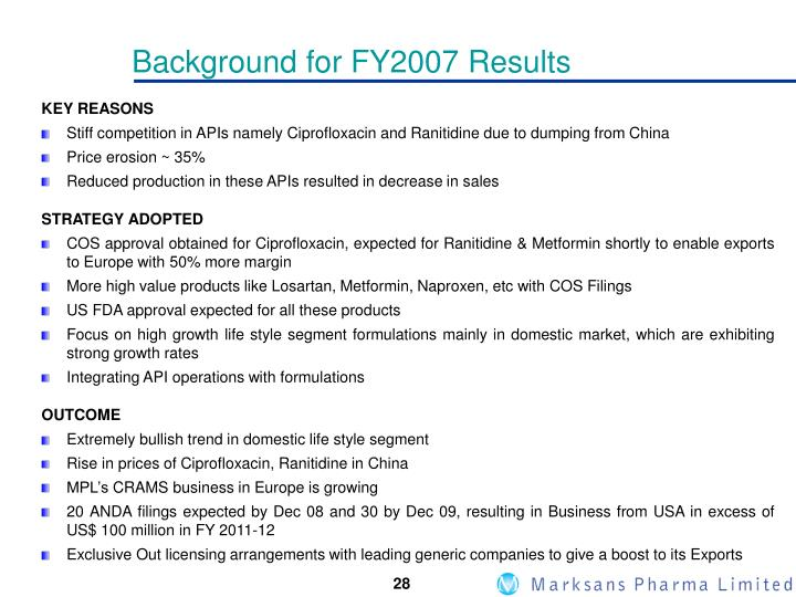 Background for FY2007 Results