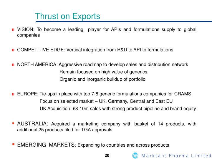 Thrust on Exports