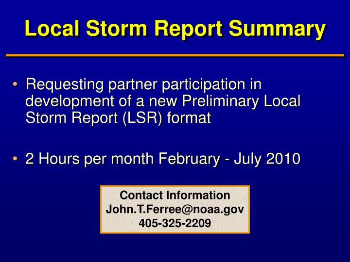 Local Storm Report Summary