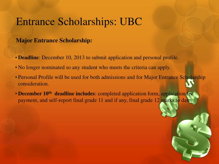 Entrance Scholarships: UBC