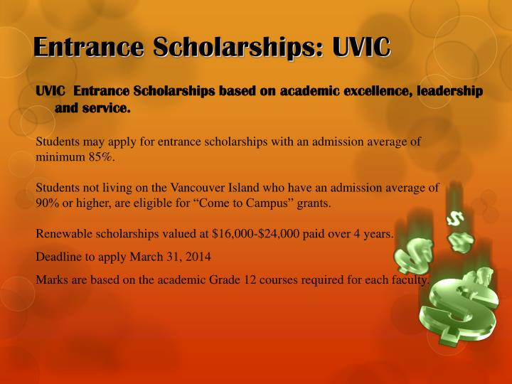 Entrance Scholarships: UVIC