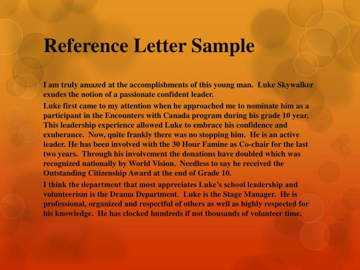 Reference Letter Sample