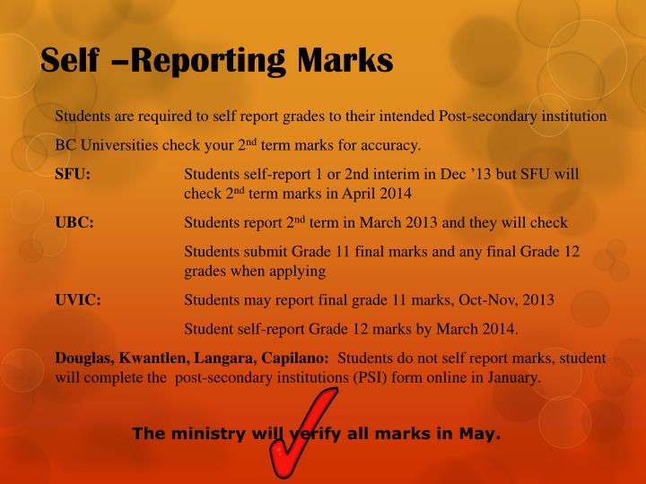 Self –Reporting Marks