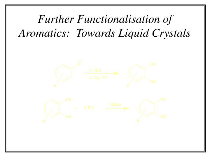 Further Functionalisation of Aromatics:  Towards Liquid Crystals