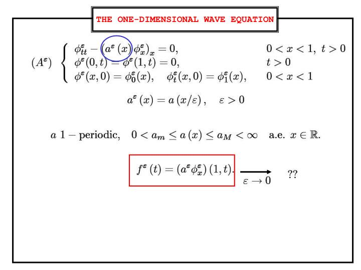 THE ONE-DIMENSIONAL WAVE EQUATION
