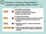 pandemic influenza preparedness complementary roles within dhhs