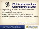 pr communications accomplishments 2007