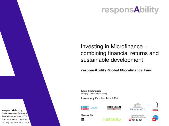 Investing in microfinance combining financial returns and sustainable development