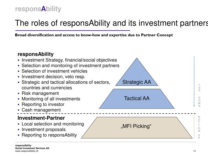 The roles of responsAbility and its investment partners