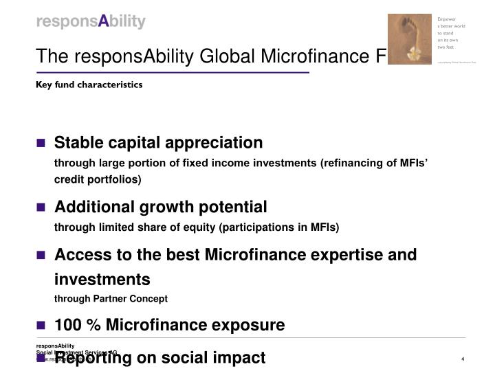 The responsAbility Global Microfinance Fund