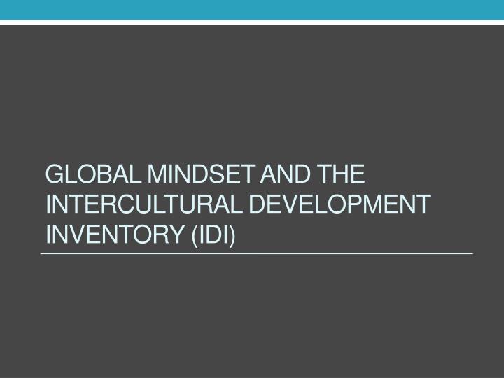 Global mindset and the Intercultural Development Inventory (IDI)