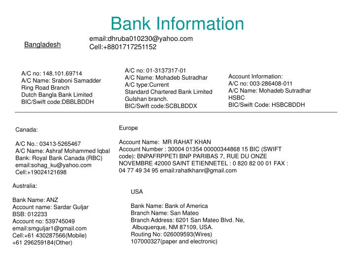 Bankinformation