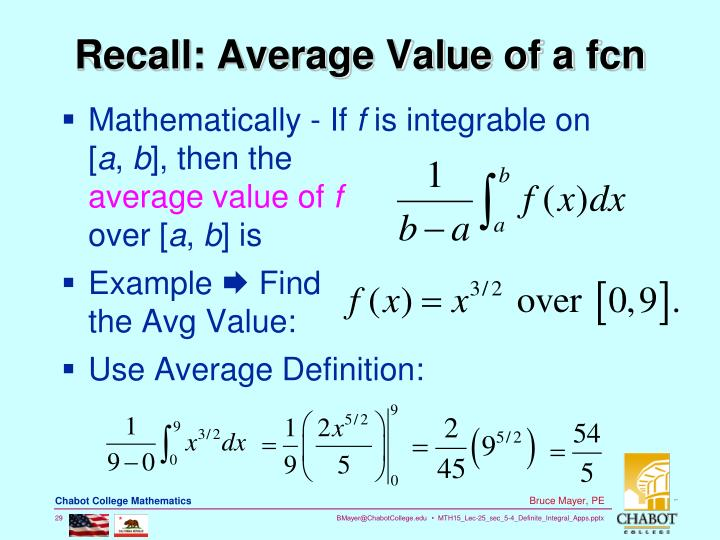 Recall: Average Value of a