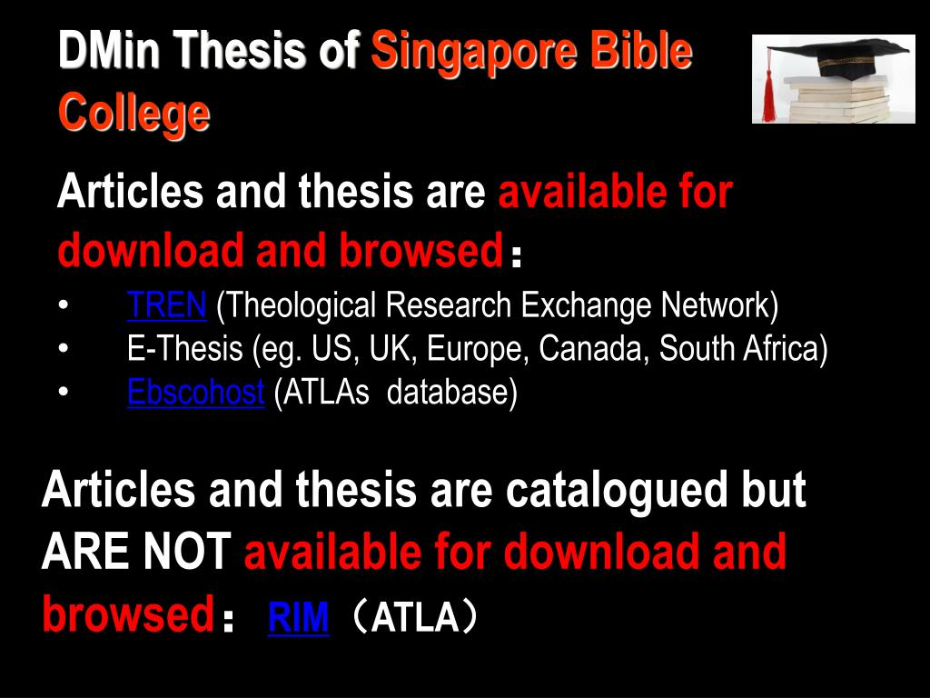 PPT - D Min Thesis Singapore Bible Collage Library
