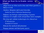 what we must do to enable omics impact