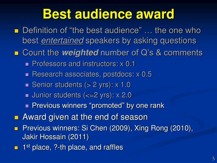 Best audience award