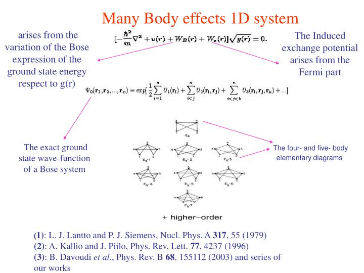 Many Body effects 1D system