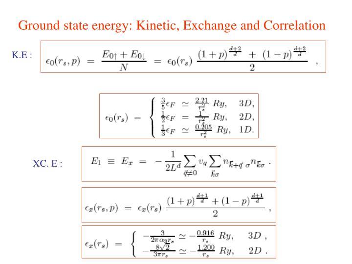 Ground state energy: Kinetic, Exchange and Correlation