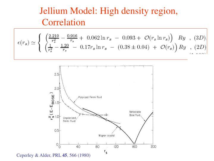 Jellium Model: High density region,