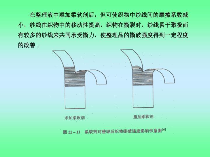 在整理液中添加柔软剂后,但可使织物中纱线间的摩擦系数减