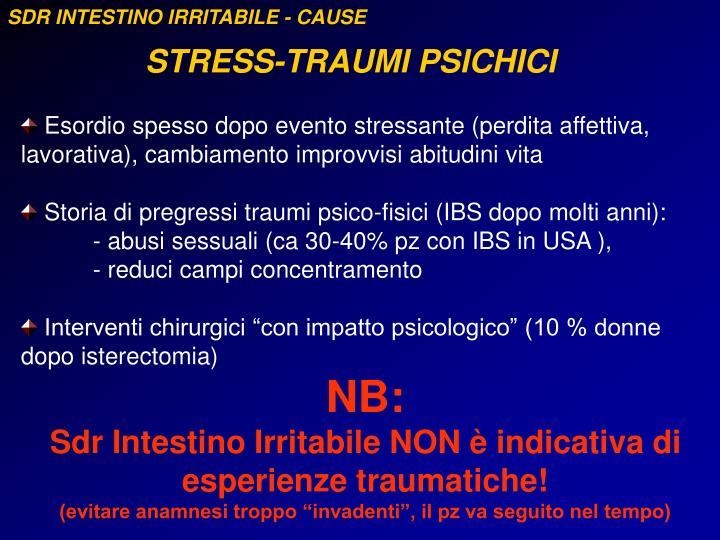 SDR INTESTINO IRRITABILE - CAUSE