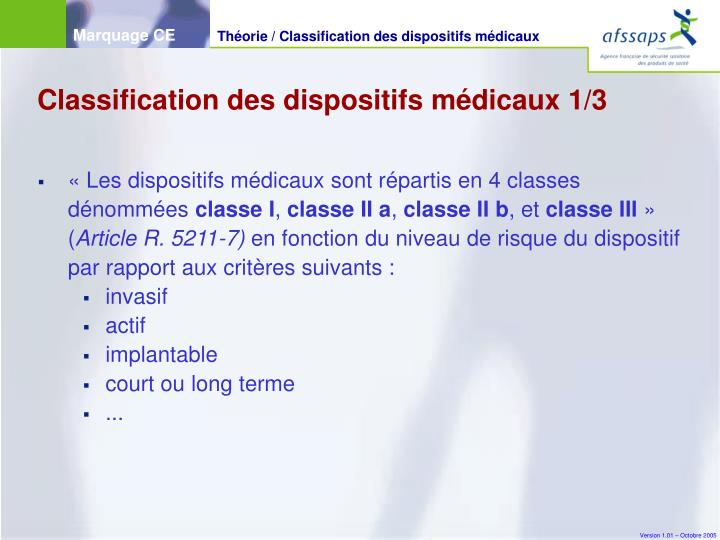 Classification des dispositifs médicaux 1/3
