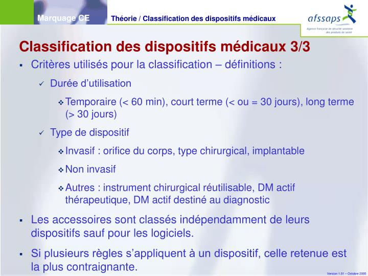 Classification des dispositifs médicaux 3/3