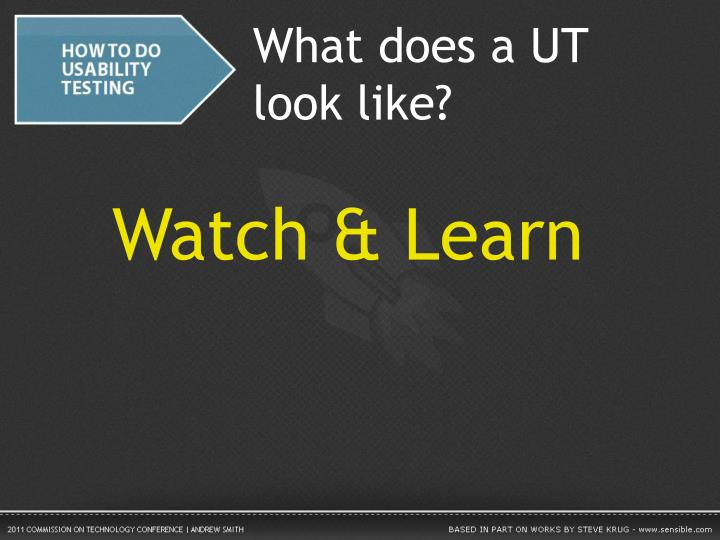 What does a UT look like?