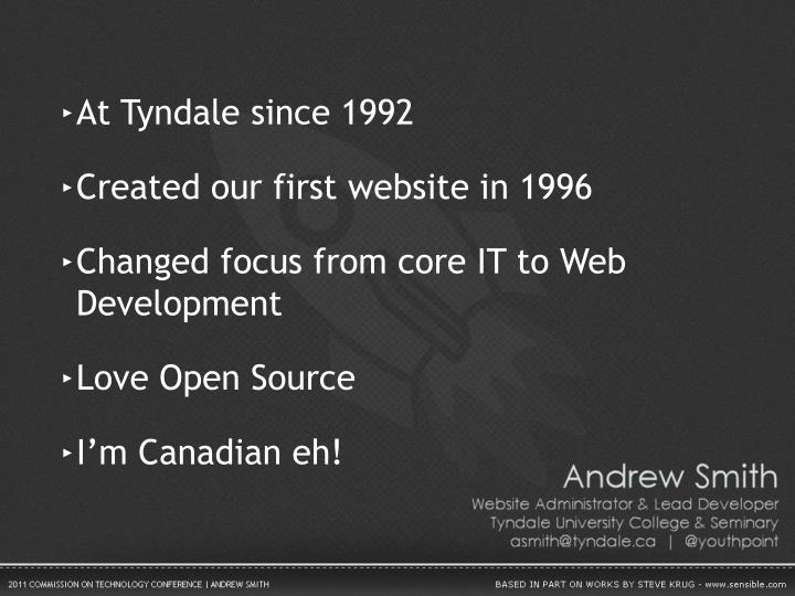 At Tyndale since 1992
