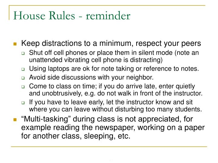 house rules reminder n.