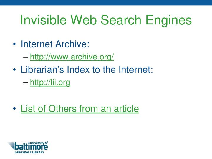 Invisible Web Search Engines